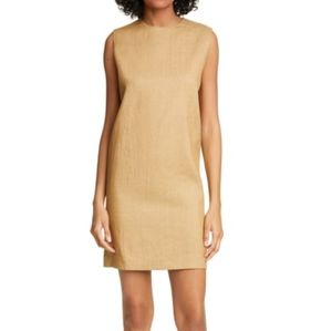 theory luxe linen blend column shift dress in hay beige nwt